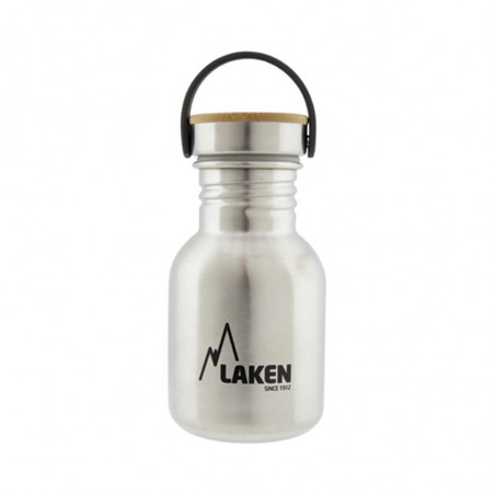 Basic Steel Bottle 350ml ,Bamboo S/S Cap - Silver