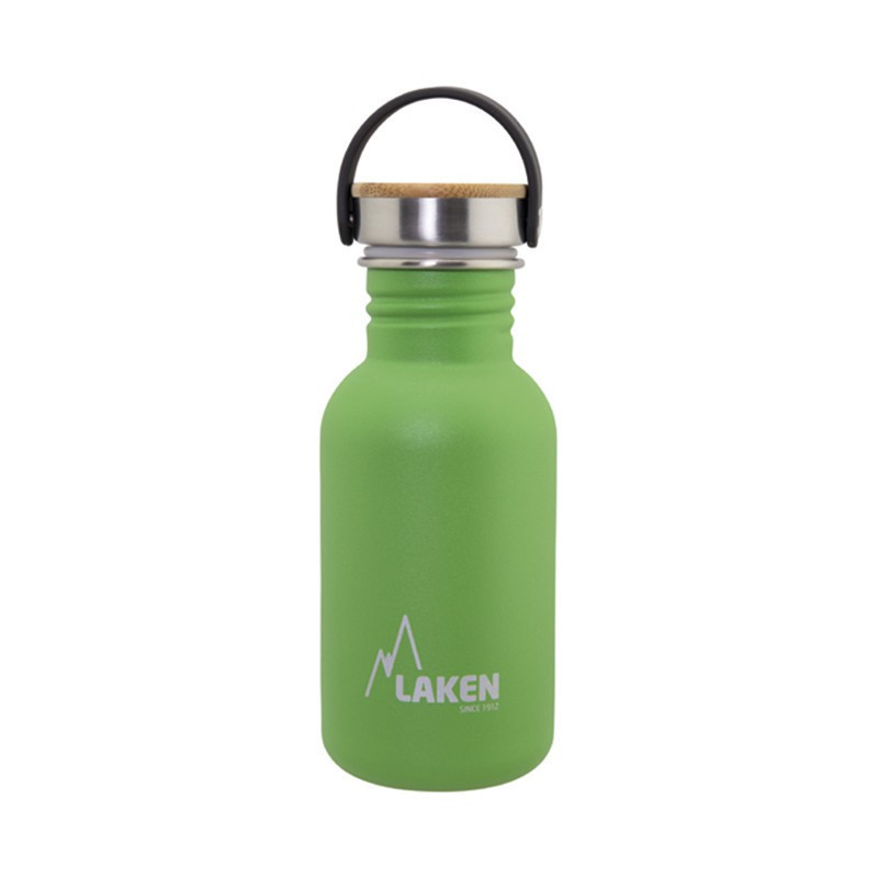 Basic Steel Bottle 500ml ,Bamboo S/S Cap - Green