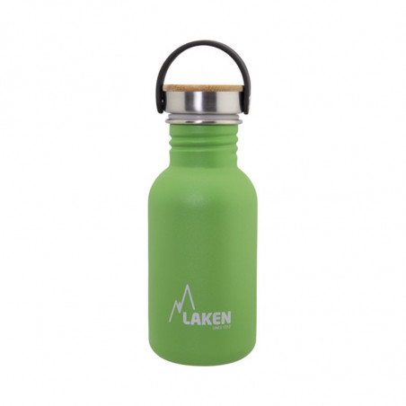 Basic Steel Bottle 500ml ,Bamboo S/S Cap - Green