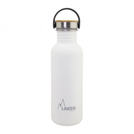 Basic Steel Bottle 750ml ,Bamboo S/S Cap - White