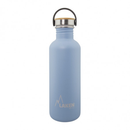 Basic Steel Bottle 1L ,Bamboo S/S Cap - Blue